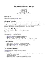 Resume Example Nurse Nursing Student Resume Examples Resume