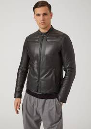 emporio armani nappa leather biker jacket with padded shoulders and elbows leather jacket man f