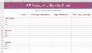 001 Potluck Sign Up Templates Template Ideas Sheet Amazing