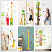 Growth Chart Ruler Decal Us 4 07 41 Off Animal Panda Bird Monkey Elephant Giraffe Wall Stickers Kids Rooms Height Chart Ruler Decals Nursery Home Decor Growth Chart In