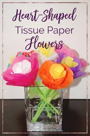 These tissue paper flowers have petals and leaves made from hearts! Perfect  for Valentine's or