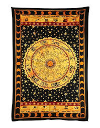 handicrunch black zodiac horoscope tapestry indian astrology hippie wall hanging ethnic decorative art  on black art tapestry wall hangings with amazon handicrunch black zodiac horoscope tapestry indian