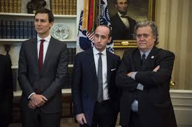 west wing oval office. Left, Senior Policy Adviser Stephen Miller And Chief Strategist K. Bannon Watch As President Donald Trump Speaks In The Oval Office Of White West Wing