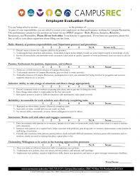 Restaurant Employee Performance Evaluation Form Employeeion Form Free Template Pdf Training Employee