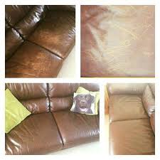 restoring colour to a faded leather sofa