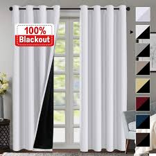 Amazon.com: 100% Blackout White Curtains for Bedroom 84 Inches Long ...