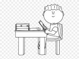 desk clipart black and white.  Black Black And White Boy At School Desk With Tablet Clip  Student Working Clipart
