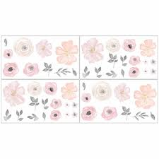 on watercolor floral wall art with watercolor floral pink and grey collection wall decals set of 4 sheets