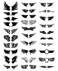 鳥の翼天使の羽根ロゴマーク紋章シルエット ベクターイラスト素材