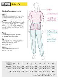 Wonderwink Nursing Scrub Size Charts