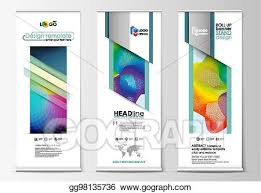 Flyers Flag Vector Stock Roll Up Banner Stands Geometric Flat Style