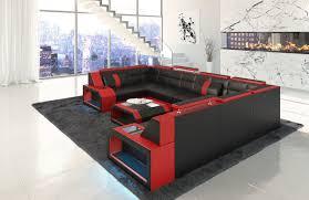 Sofa Dreams Leder Wohnlandschaft Pesaro U Form Schwarz Rot