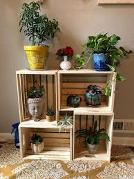 wooden crates plant stand