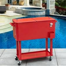 outdoor cooler cart outdoor deluxe quart portable patio party drink cooler cart with 4 wheels wooden outdoor cooler
