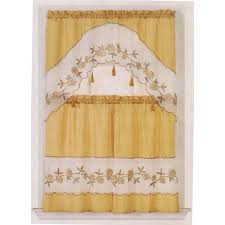 royal linen bed bath n kitchen s curtains kitchen curtain gold white with tassels