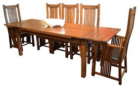 high back chairs for dining table. arts and crafts oak dining table with 2 leaves, 8 high back chairs, 9 chairs for
