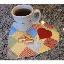 enjoy quick snacks on this cute little heart shaped mug rug it s great to use at home and at the office and it makes a sweet gift
