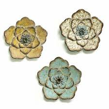 set of 3 multi color chic metal flowers