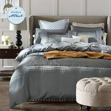 whole luxury silk cotton bedding sets duvet cover bed set the bed linen blue red grey queen king size bedclothes sheet hotel 2 bedroom duvet covers