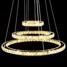 ridgeyard modern chandelier light k9 crystals led 3 rings chandelier warm light celling pendant light 20 40 60cm