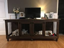 i fell in love with this dog crate tv stand my husband made for me