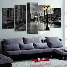 Modern Canvas Pictures Retro Ink Paintings City Street Landscape