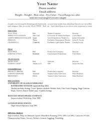 Acting Resume Us Market Acting Resume Example Resume Format For