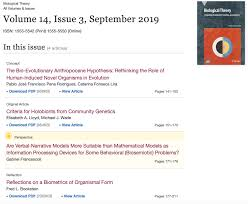 Biological Theory Just Out Biological Theory Issue 14 3 With Human Induced