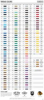 Embroidery Chart Resources Embroidery Thread Color Chart