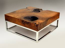 ... Brown Square Industrialist Natural Wood Top And Metal Legs Framed Unusual  Coffee Tables Design ...