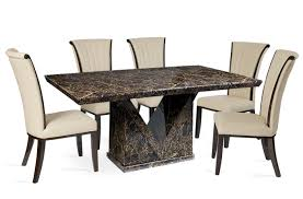 table and 6 chairs. mocha marble dining table with alpine leather chairs 4 or 6 seater and z