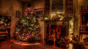 2560x1440 preview wallpaper tree holiday garland fireplace toys stockings