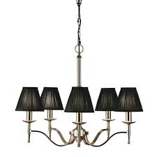 stanford 5 ligh traditional nickel chandelier with black candle shades