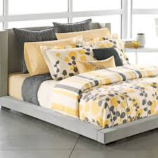 apt grey yellow white modern ivy leaves stripe king comfor on bed linen awesome yellow sheets