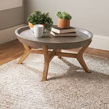 round concrete tray coffee table