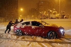 rare snowstorm closes madrid airport