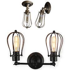 Loft <b>American Iron</b> black lampshade <b>wall</b> lamp vintage cage guard ...