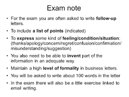 s formal letters writing s formal letters ppt exam note for the exam you are often asked to write follow up letters