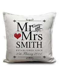 mr and mrs personalised cushion cover