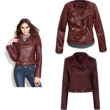 burdy faux leather jacket