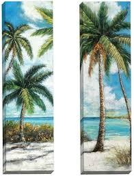 dreamy set of 2 palm trees on the beach canvas art 12x36 inches 69 89 http www beachblissdesigns 2016 09 palm trees on beach canvas art set of 2  on palm tree wall art set with palm trees on the beach canvas art set of 2 pinterest beach