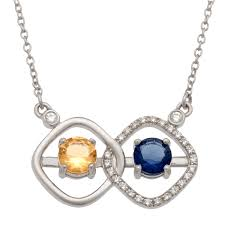 couple s simulated birthstone and 1 6 ct t w diamond cushion frame necklace in sterling silver 2 stones