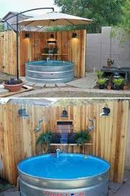 patio with pool simple.  With DIY Galvanized Stock Tank Pool To Beat The Summer Heat With Patio Simple O