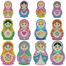 Machine Embroidery Patterns Best RUSSIAN DOLLS Machine Embroidery Patterns 48 Designs In 48 Sizes