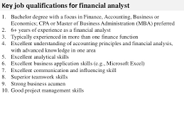 functional planning processes 3 key job qualifications for financial analyst benefits analyst job description
