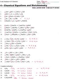 chemistry worksheet balancing equations answers