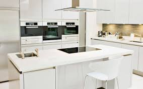 Decorations:All White Kitchen Cabinets In Single Line With White Backsplash  And White Panel Striking