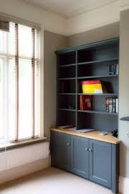 bespoke home office painted in little greene with a bespoke oak and real leather desk bespoke home office