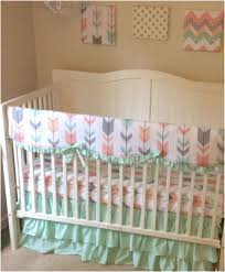 custom baby bedding unforgettable mint peach and gray arrows ruffled crib bedding for a baby girl
