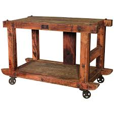 wooden rolling carts rolling kitchen island table or cart rustic vintage wood metal and cast iron wooden rolling carts